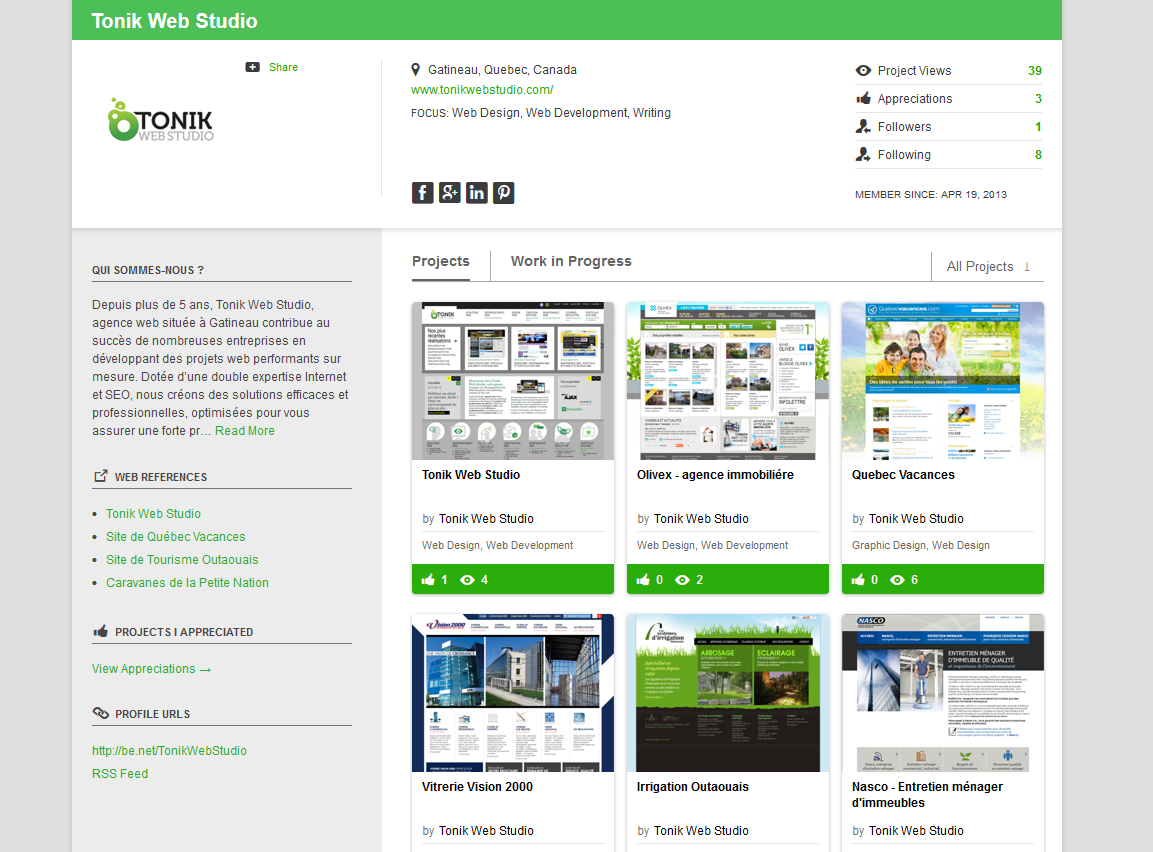 Tonik Web Studio sur behance