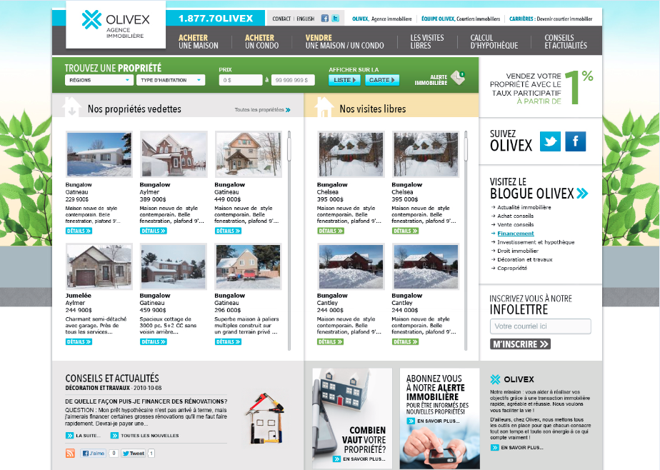 Site internet Olivex