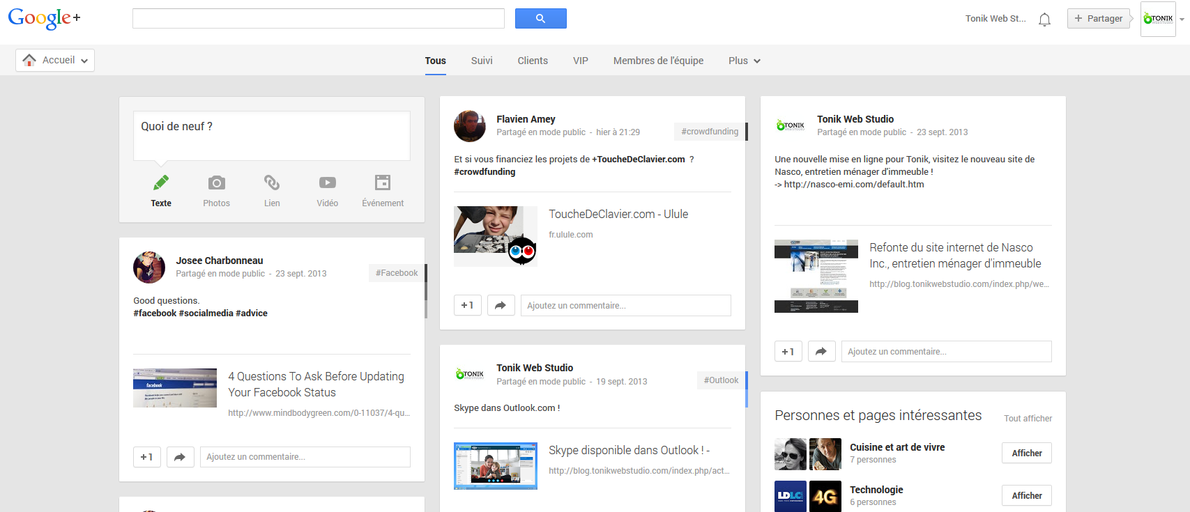 Screenshot Google +